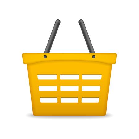 grocery cart: Orange shopping basket on white background
