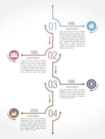 Vertical timeline infographics design template Vector