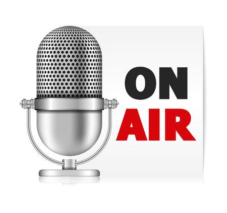 microfono radio: Micr�fono en el banner de aire