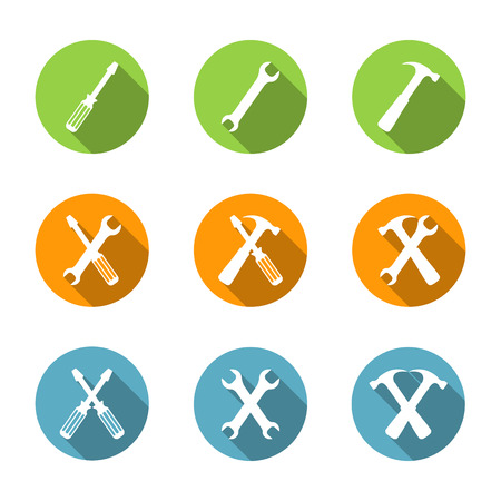 technical support: Tools icons set, flat design, screwdriver, wrench and hammer