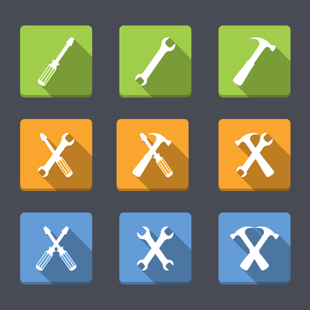 Screwdriver, wrench and hammer, flat design, tools icons Vector