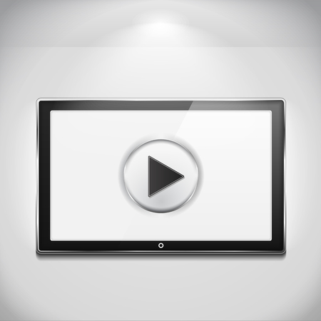 LCD TV on the wall with play button Stock Vector - 28031080