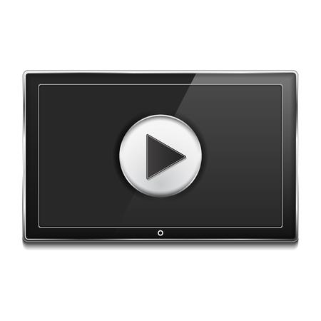 tv scherm: Zwarte LCD TV-scherm met play-knop