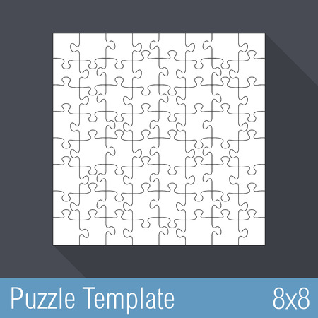 Square jigsaw puzzle template 8x8 pieces Vector