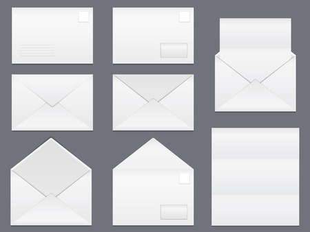 Envelopes and blank white paper Vector