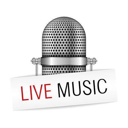 music banner: Microfoon met live muziek banner Stock Illustratie