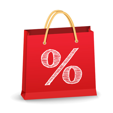 Red shopping bag with hand drawn percent sign Illustration