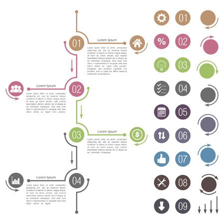 Elementos de diseño de línea de tiempo Ilustración de vector