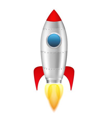 Raket met vlam op witte achtergrond
