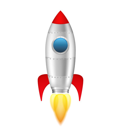 Rocket with flame on white background