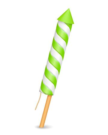 Green firework rocket on white background Illustration