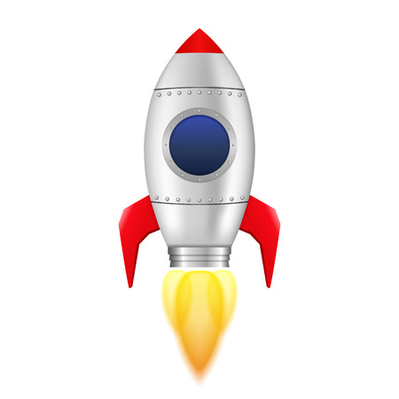 Rocket with flame on white background Vector