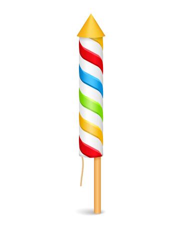 fuze: Colorful striped firework rocket Illustration