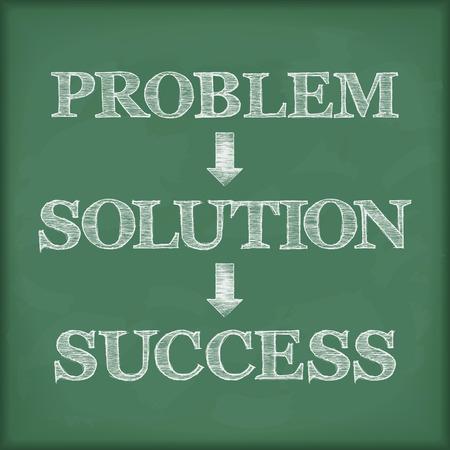 back problem: Problem solution success diagram on blackboard Illustration