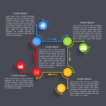business cycle: Infographics design template with four elements
