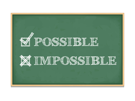Possible - Impossible words with check boxes on blackboard Vector