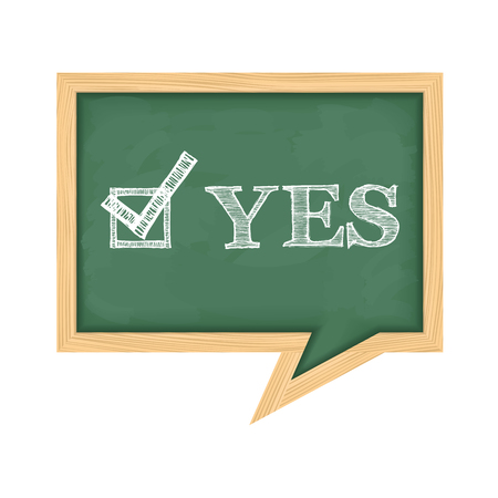 school exam: Blackboard with word yes and check box with check mark