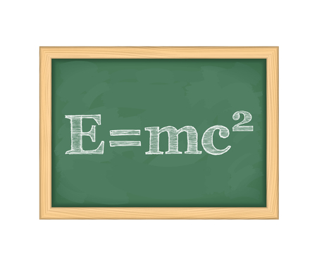 mc2: Formula of energy on blackboard Illustration