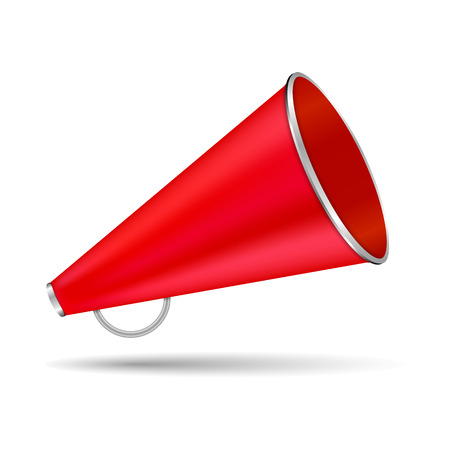 Red megaphone on white background