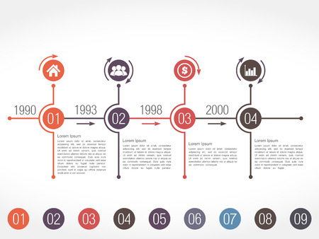 Horizontal timeline infographics design template Vector