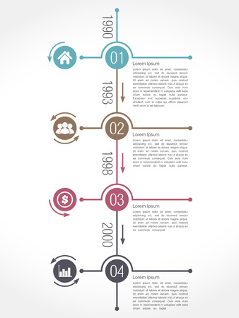 data flow: Vertical timeline infographics design template