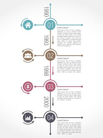 Verticale tijdlijn infographics ontwerpsjabloon