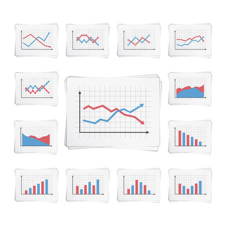 decrease: Papers with different graphs and charts Illustration