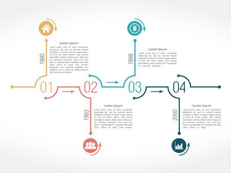 horizontal lines: Cronología plantilla de diseño infográfico