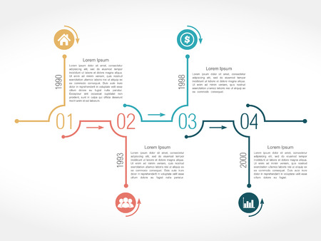data flow: Timeline infographic design template