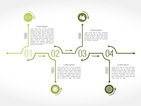 Timeline infographics design template, green eco style Vector