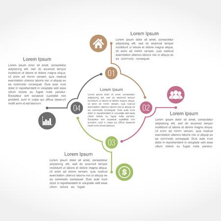 cuatro elementos: Infografía plantilla de diseño con cuatro elementos