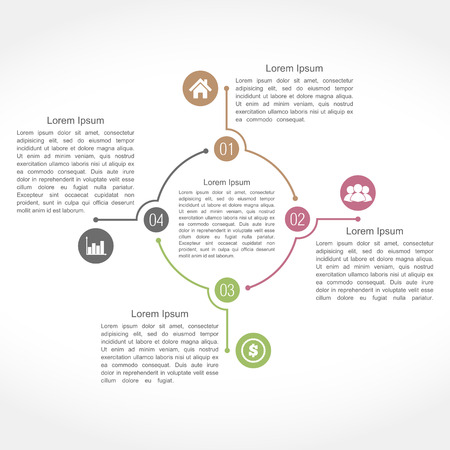 Infographics design template with four elements