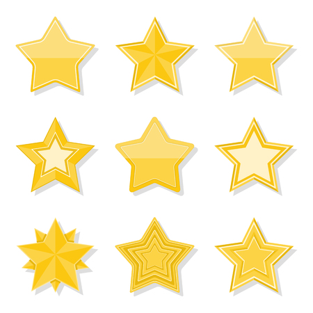 Set of different flat yellow stars on white background Vector