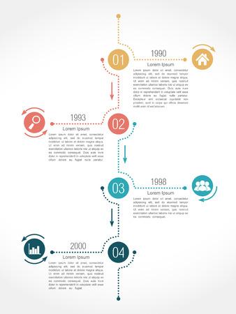 cuatro elementos: Plantilla de dise�o de infograf�as l�nea de tiempo con cuatro elementos Vectores
