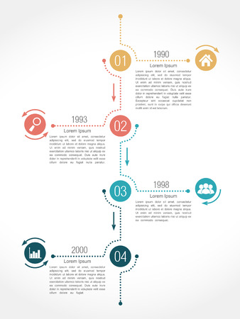 data flow: Timeline infographics design template with four elements Illustration