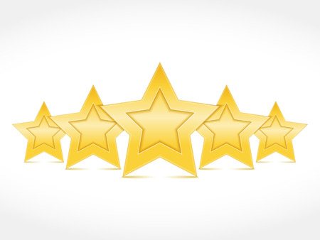 five stars: Five golden stars standing on white background Illustration