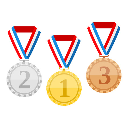 Golden silver and bronze medals with ribbons