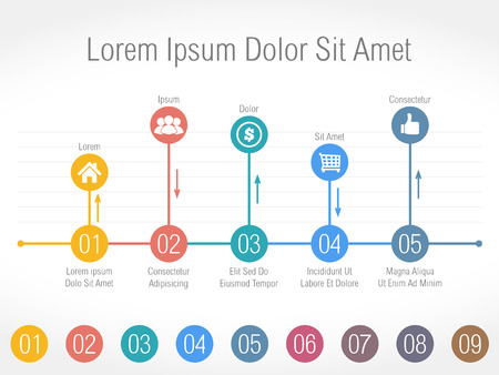 time line: Bar chart with numbers and icons