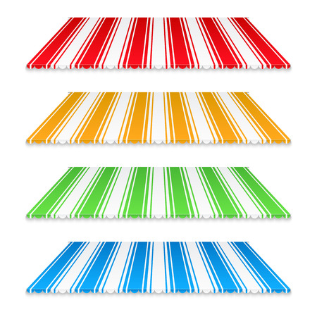 awnings: Set of colored awnings on white background Illustration