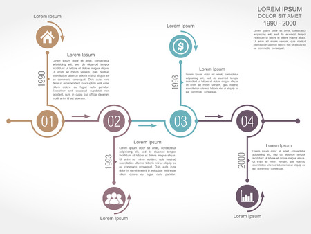 Timeline infographics design template with four elements Vector