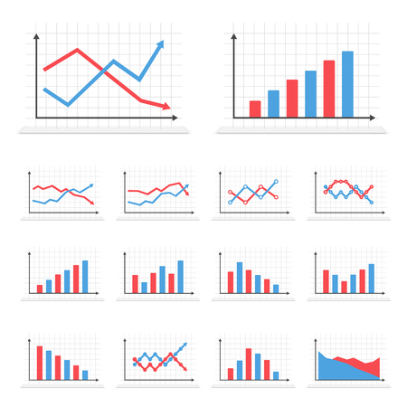 upward graph: Set of different graphs on white background