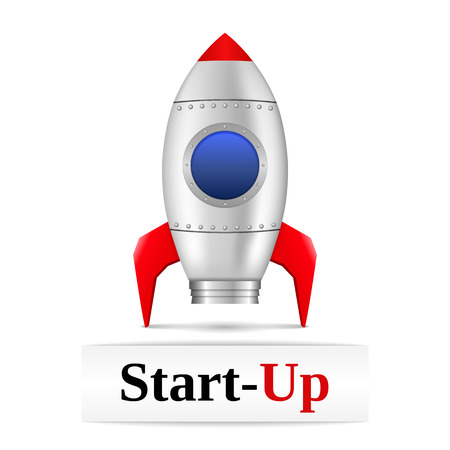 Space rocket with text start-up Vector