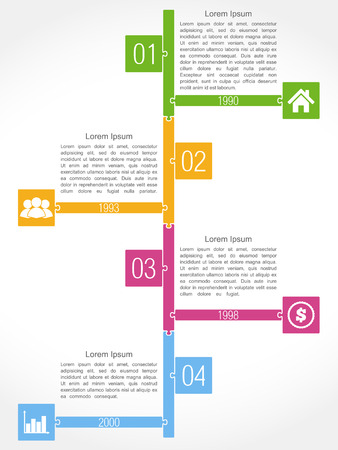 Timeline template, puzzle design Vector