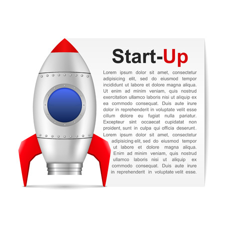 Start-up banner with rocket and place for your text Vector