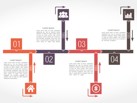 Infographics timeline design template, puzzle style Vector