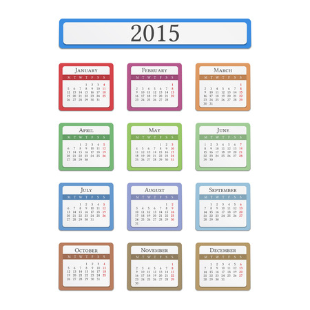 2015 colored calendar on white background