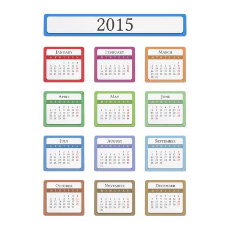 december calendar: Calendario 2015 di colore su sfondo bianco Vettoriali