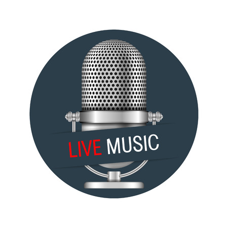 live on air: Microphone in a circle with live music banner