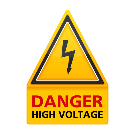 high voltage sign: Danger high voltage triangle sign Illustration
