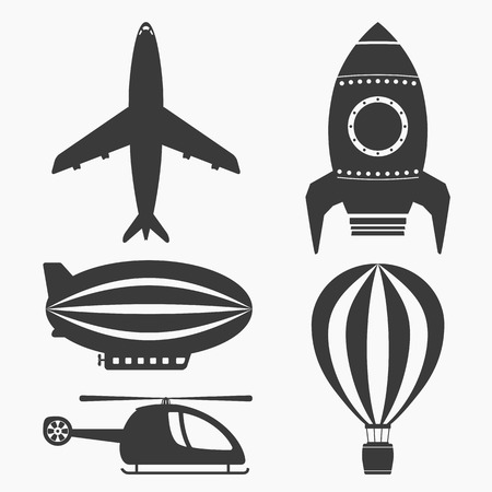 aerodynamics: Air transport icons set, helicopter, airplane, hot air ballon, airship and rocket